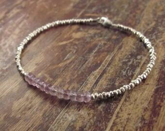 Amethyst Bracelet Amethyst Birthstone Bracelet Amethyst Bracelets February Birthstone Jewelry Womens Gift Bead Bracelet Beaded Bracelet