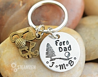 Fore Dad Personalized Keychain - Father's Day Gifts - Him and Her Gift - Grandpa Gift - Dad Gift - Golfer Gift - Brother Gift - Unisex