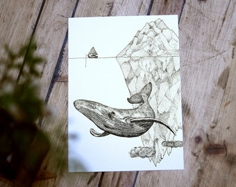 As Above So Below | Hand Drawn Fantasy Surreal Illustration | Whale Iceberg Art Print | Wall Decor | Pen Ink Sketch