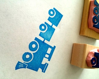 Train rubber stamp set // hand carved