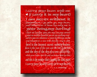 EE Cummings-Carry Your Heart - 16x20 Gallery Wrapped Canvas Word Art Prints - color options
