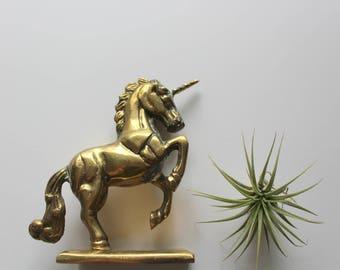 Vintage Solid Brass Unicorn Statue 1980s
