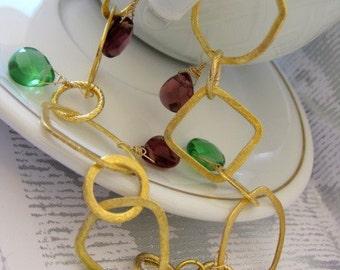 Charm Bracelet with semi precious stones- Spring breeze