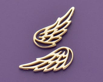 Sterling Silver, Angel Wing Charm, Wing Charm, Charm Embellishment, Silver Charm, Jewelry Component, Silver Angel Wing, Silver Wing