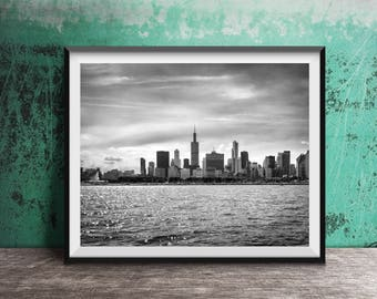 Chicago Skyline in Black and White from the lake - art photography print -  skyline view