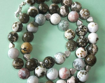 Gemstone Jewelry Necklace - Tree Agate and Sterling Silver Gemstone Beaded Necklace