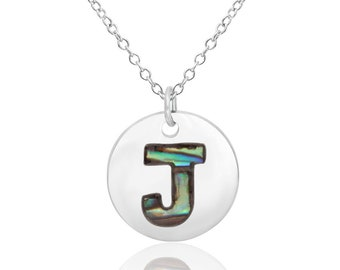 Letter J Initial Necklace Abalone Necklace Abalone Pendant Birthday Gift Hypoallergenic Jewelry Abalone Shell Jewellery Paua Shell Necklace