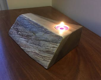 Wooden candle holder - english walnut mill waste
