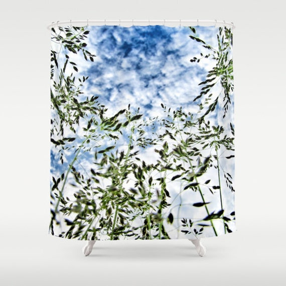 Grass and Sky Shower Curtain, Grass Bathroom, Nature Shower Curtain, Cloudy Sky Shower Curtain, Nature Home Decor, Whimsical, Green Blue