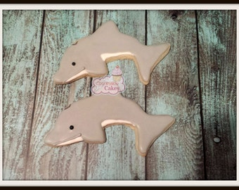 Dolphin Decorated Sugar Cookies  -1 dozen