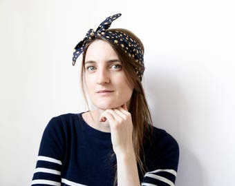 Beige and blue spotted cotton headband