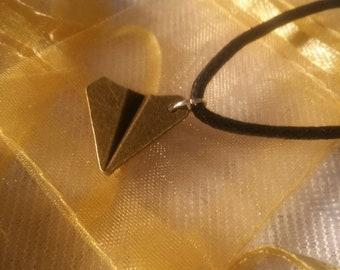 Bronze paper plane necklace