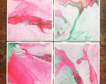 Pink & Green Marble Tile Coasters