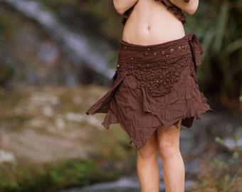 Tao Pocket Skirt (Brown) - Festival Clothing Crochet Boho Wrap Around Gypsy Pocket Skirt Goa Fairy Jungle Bohemian Skirt