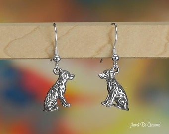Sterling Silver Sitting Dalmatian Earrings Pierced Earwires Solid .925