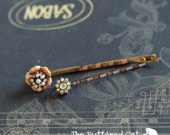 Two vintage hair pins, romantic hair accessory, bridal hair accessory