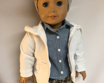 White Zipper Hoodie Hooded Sweatshirt made to fit 18 inch dolls like American Girl dolls 18 inch boy doll clothes