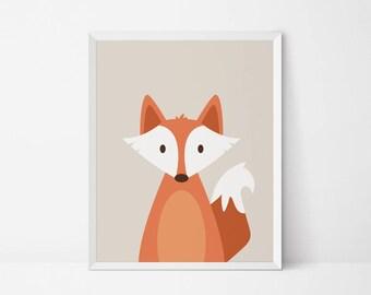 Fox printable, fox wall art, fox Woodland Animal Wall art, nursery Decor, retro nursery print, animal nursery art, fox nursery print digital