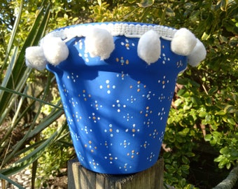Petra - blue plant pot with Pom poms. Sold with a matching tray.