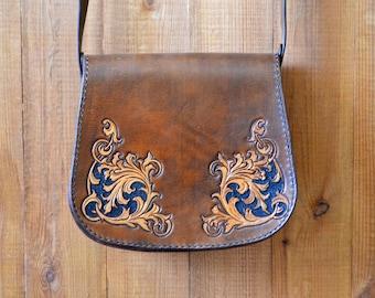Handmade Leather Bag, Bohemian bag, Hippie leather bags, Leather carving bag, Shoulder bag, Leather handmade messenger bag, boho bag