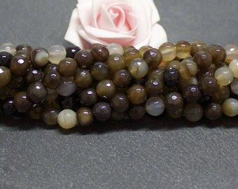 x 10 8 mm PEJ01 coffee agate faceted round beads
