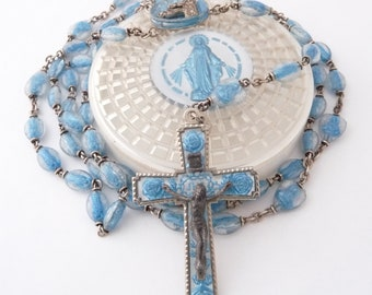 1958 Lourdes Anniversary Rosary Blue Lucite Alpaca Silver Catholic Rosary with Rosary Case