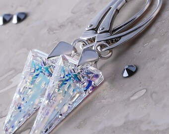 925 Sterling Silver Leverback Dangle Earrings Crystal AB *Aurore Boreale* SPIKE Genuine Crystals from Swarovski