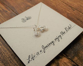 """Silver Bicycle Necklace """"Life Is A Journey Enjoy the Ride""""// Sterling Silver//Bike charm"""