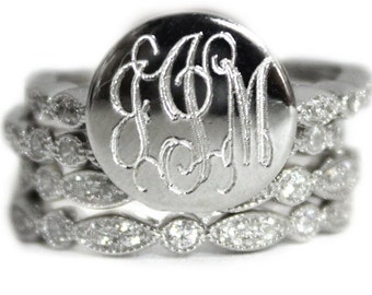 Monogrammed Stackable Ring, Sterling Silver, Stackable Ring,