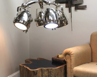 Five Arm Chandelier with Spot Lights Aimed in Any Direction Movie Studio Style