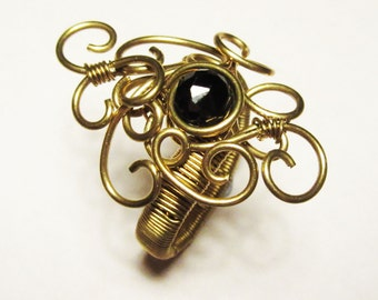 Solid Brass Filigree Swirl Statement Ring with Black Faceted Spinel Gemstone - UK Size Y