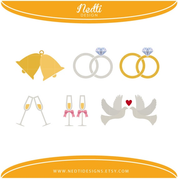 6 Wedding Clipart PNG Dove Clip Art Ring Digital Bell Printable Sticker Planner Supplies Instant Download From NedtiDesigns On