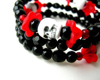Black and Red Skull Bracelet - Dead of the Dead Bracelet - Gothic Jewelry - Black Jewelry - Skulls - Skull Bracelet
