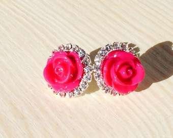 Gorgeous pink rose and rhinestone earrings
