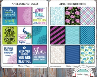 April Designer Boxes Planner Stickers