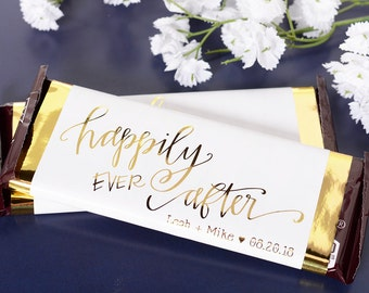 Wedding Candy Wrappers - 25 Metallic Foil Chocolate Bar Wrappers - Wedding Chocolate Bar Labels - Custom Candy Stickers - METALLIC - whb-HEA