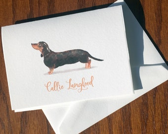 Dachshund Personalized Stationery, great gift for dog lovers, Dachshund stationery set 100% Cotton Savoy, custom gifts for dog lovers
