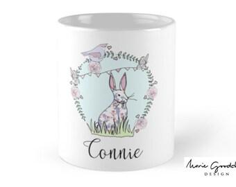 bunny illustration, bunny art, bunny birthday, bunny rabbit gift, easter bunny gift, personalised bunny, personalized bunny, bunny mug
