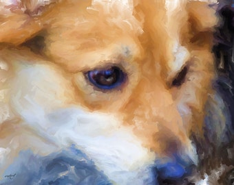 ACEO ATC - Digital Oil Painting - Jenny Lu Eyes - Art by ruby