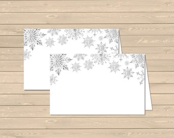 Snowflake Printable Food Tent Cards Place Cards, Snowflake Buffet Place Cards, DIY Food Table Signs, Winter Decor, Instant Download 303-P