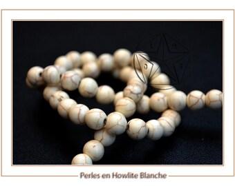 set of 5 beads 6mm white howlite, natural stone, natural Perle howlite 6 mm bead semi precious 6mm