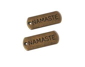 20 BULK Namaste Charms | Namaste Tag | Yoga Jewelry | Bronze Namaste Tag | Yoga Charm | Ready to Ship from the USA | BR040-20