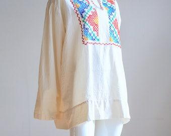 Ukrainian Top  Ukrainian Embroidery  Ukrainian Blouse  Blue and White Embroidered Top   Embroidered Blouse   Vintage Embroidery  Plus Size