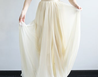 silk and chiffon gown with spaghetti straps