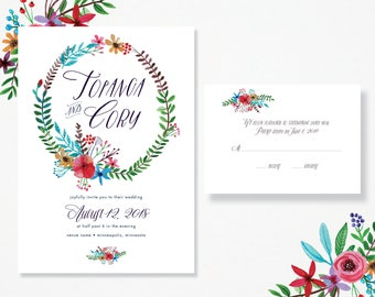 Floral Wreath Wedding Invitation & RSVP Card