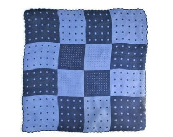 Vintage Handkerchief ~ Blue Linen Hankie ~ Polka Dots Squares Geometric ~ Mid Century Clothing Accessories ~ Retro Mod