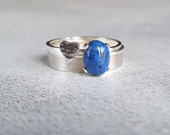 Lapis Stacking Ring - Stackable Ring - Stacking Ring - Ring Stack - Gemstone Ring - Gemstone Stack - Lapis Ring - Cabochon Ring