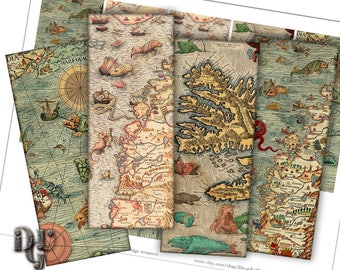 ANTIQUE MAPS Bookmarks Digital Collage - Medieval Nautical Charts Collage Sheet, Instant Download  Scrapbook Printable Bookmarks S_006