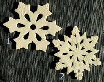 Ceramic trivet snowflake, textured white trivet, hot plate