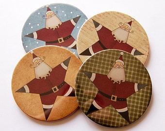 Santa Coasters, Christmas Coasters, Drink Coasters, Coasters, Hostess Gift, Christmas, Holiday Coasters, Santa, Star, Santa Claus (5219)